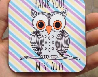 Personalised Thank You Owl Coaster