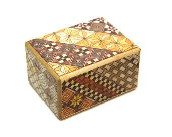 SS size 14 Step Japanese Puzzle Box Secret Yosegi Hakone 1.5 Sun Trick Opening Crafted Himitsubako Famous Souvenirs