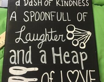 Kitchen quote canvas