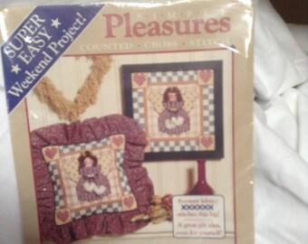 Dimensions 1995 Folk Art Angel 8 x 8 Simple Pleasures Cross Stitch NEW