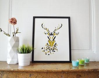 Displays silkscreen 40x50cm - deer Zoorigami - white