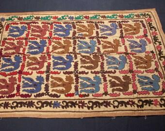 Vintage 1970's Small SUZANI cm from SAMARKAND, Uzbekistan 113 x 167cm / 3'8'' x 5'6'' FREE Shipping No:019