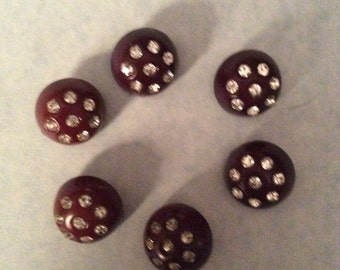 Vintage buttons. 6 brown plastic rhinestone buttons. Jewelry