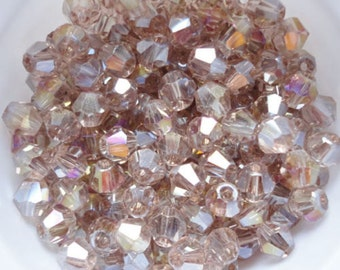 100 Crystal Glass Bicone Beads - Pale Antique Gold AB  - 4mm