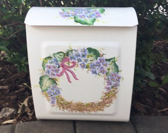 Painted Wreath Mailbox, Hand Painted Decorative Mailboxes, Custom Mailboxes, Residential Wall Mount Mailbox, Floral Mailbox