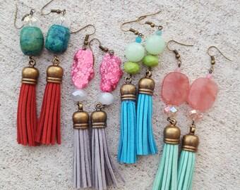 Stone beaded tassel earrings