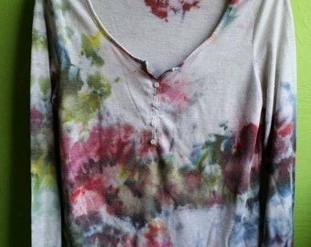 Field of Ghosts-IceDye ladies long sleeve top size M -soft cotton