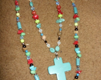 Turquoise Cross Twin Necklace set