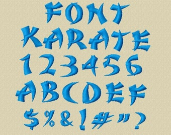 Bogo Free Font, Buy 1 take 1 font, Buy One Take one Font, Karate Embroidery Font, Instant Download, 3 Sizes, PES Format, BX Format