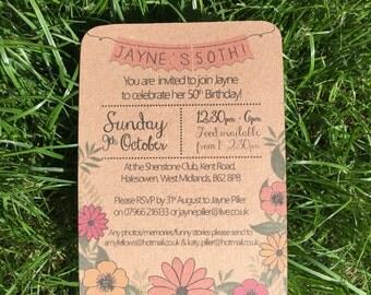 Flower & Bunting Design Kraft Card Birthday Invitations