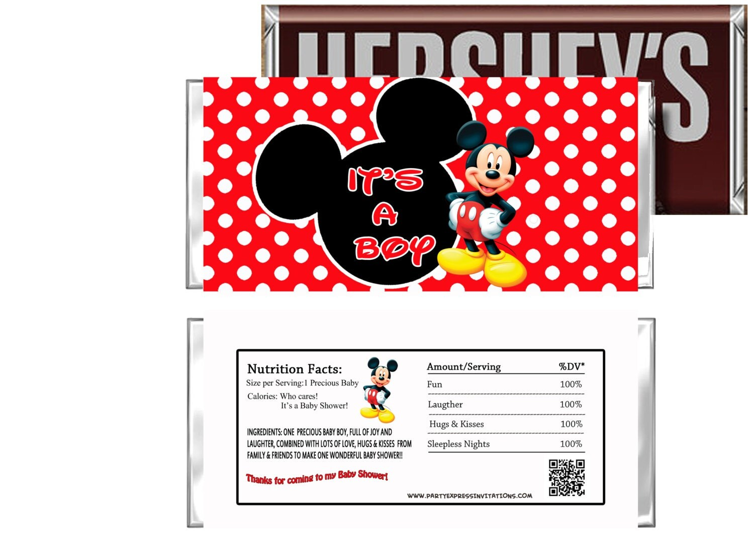 mickey mouse baby shower candy wrappers instant download diy