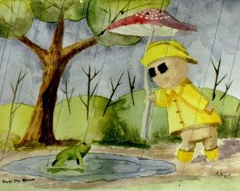 Rainy Day Friend Watercolor Illustration Giclée Print