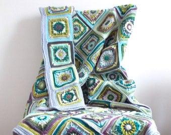 Crochet Blanket - Rosette Square Design - Lavender - 100cm x 138cm