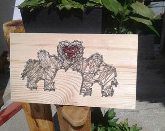 Elephants in love - string art
