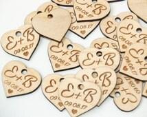 SET OF 10 Wedding favor-Wedding favor tags-Wedding favor rustic-Wooden hearts-Wedding hearts-Wedding tags-Custom favor-Custom tags-Wood tags