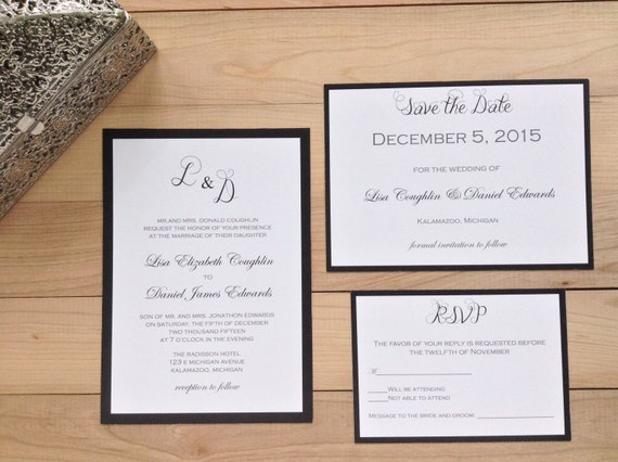 Elegant Monogram Wedding Invitations: Elegant Monogram Wedding Invitation Set By WildflowerInvites