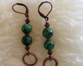 Ruby zoisite and warm copper dangle earrings