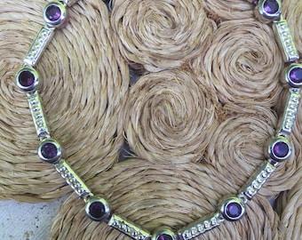 Vintage Sterling Silver bracelet with purple crystals