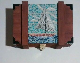 Sailboat ,mosaic, abstract,hand painted