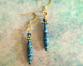 Blue Hand Rolled Paper Earrings