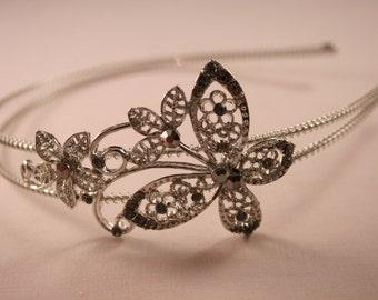 Black Diamante Butterfly Headband