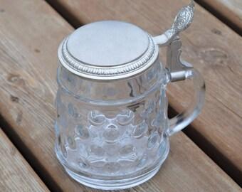 Vintage German Beer Stein with Pewter lid, Beer Stein, Glass with Pewter lid/ BMF Glass beer stein