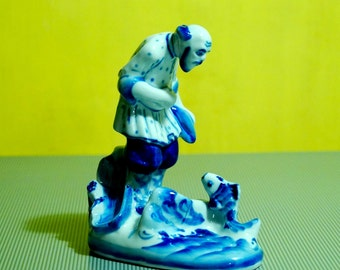 fisherman and goldfish collectible porcelain figurine Gzhel hand painted folk fairy tale