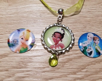 10 Princess Tiana, Frozen Fever, Tinkerbell Necklaces Party Favors.