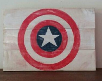 Captain America wood sign.  Weathered worn look.