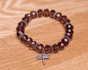 Czech glass beaded bracelet, glass beads, stretch bracelet
