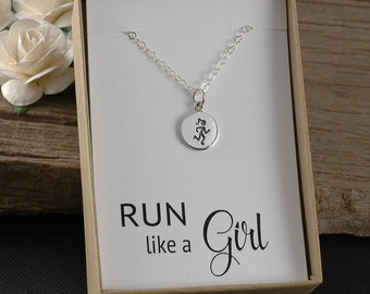 Run like a girl, runner necklace, marathon jewelry, runners necklace, run necklace, running jewelry, half marathon, marathon 10K 5K