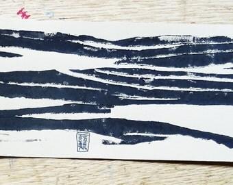 Composition 3 linocut black