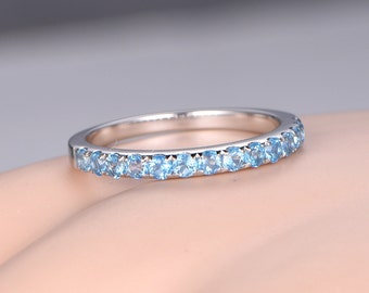 Blue topaz wedding band solid 14k white gold half eternity ring engagement ring stacking matching band anniversary ring sky blue gemstone