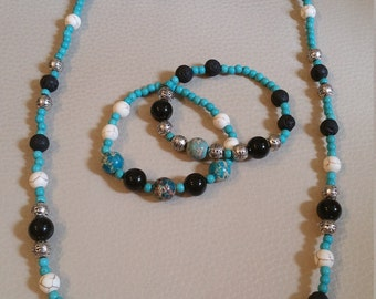 Natural Gemstone Jewellery Set - Necklace, 2 Blacelets, Earrings