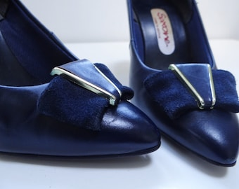 UK2, Vintage Ladies Shoes, 1980s, US4, EU35, Navy Heels, Vintage Footwear, Boho Shoes