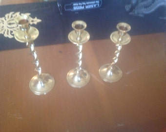 Solid Brass Candlestick Set of 3