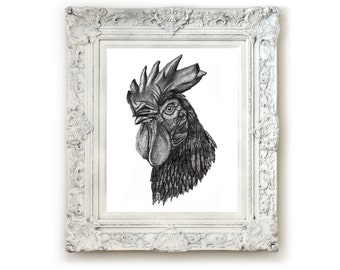 Chicken Illustration Print, Giclee Print, Animal Wall Art, Pencil Drawing, Animal Illustration.