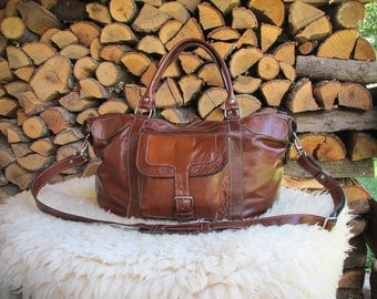 Handmade Dark Brown Leather Duffle Bag / Antiqued Leather Overnight Bag / Leather Travel Bags / Brown Leather Weekender Bag