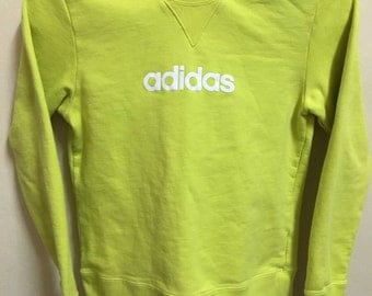 Vintage 90's Adidas Neon 3 Stripes Sport Classic Design Skate Sweat Shirt Sweater Varsity Jacket Size S #A382