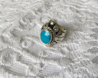 Vintage Sterling 'Taxco' Mexico Poison Ring Sz. 7.5 Signed-  7.3g.