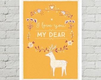 I love you my dear! - original illustration