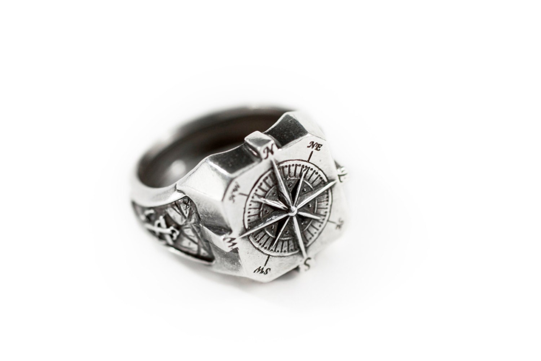 silver ring naval ring nautical signet mens ring sailor ring