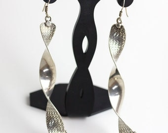 Contemporary twisted silver earrings