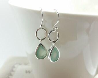 Teardrop Chalcedony Earrings, Dangly Earrings, Calcedony earrings Perfect Gift