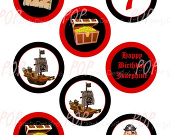 Personalized Pirate Birthday Cupcake Toppers, Printable, Digital File