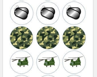 """15 x 2"""" fondant cupcake toppers - army"""