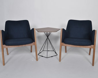 Mid Century Modern Chair Living Room Lounge Walnut Wooden Deep Blue Upholstered (Set of 2)