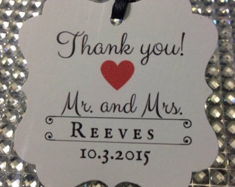 Thank you favor tags, wedding favor tags
