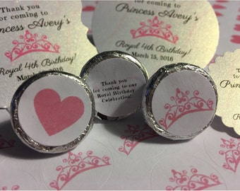 Princess party, hershey kiss stickers,