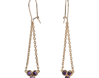 Earrings cluster, gold and semi-precious stones